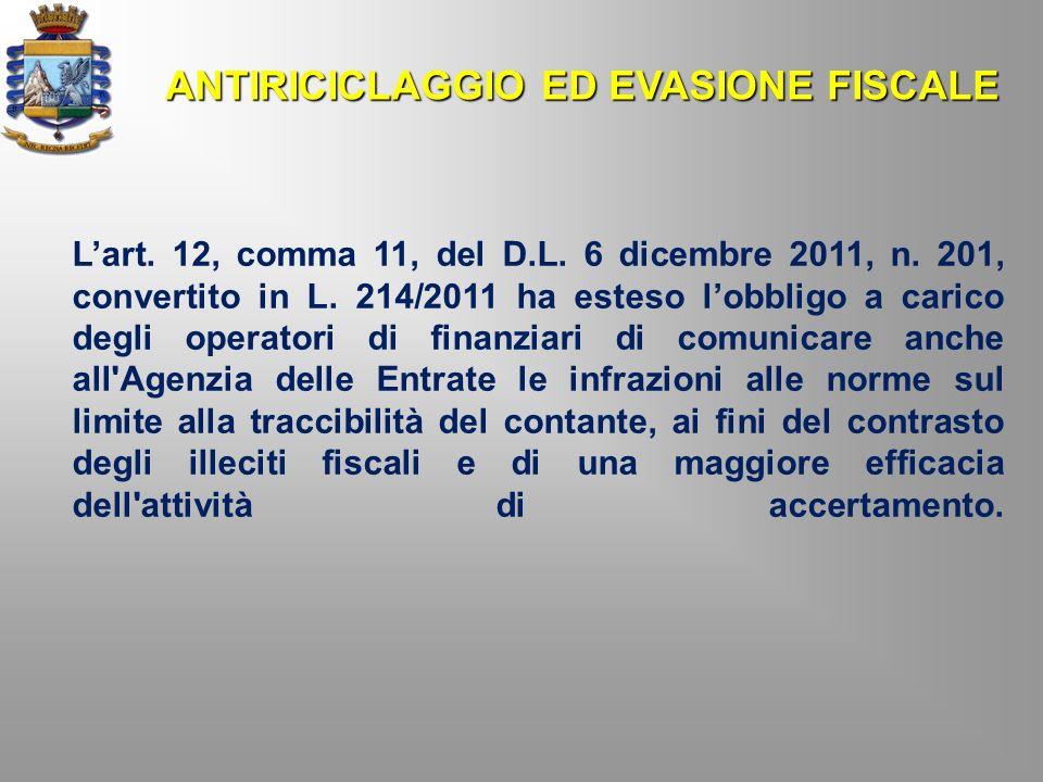 ANTIRICICLAGGIO ED EVASIONE FISCALE