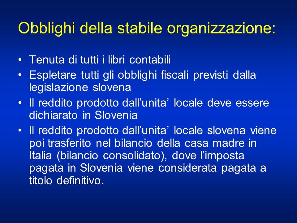 Obblighi della stabile organizzazione: