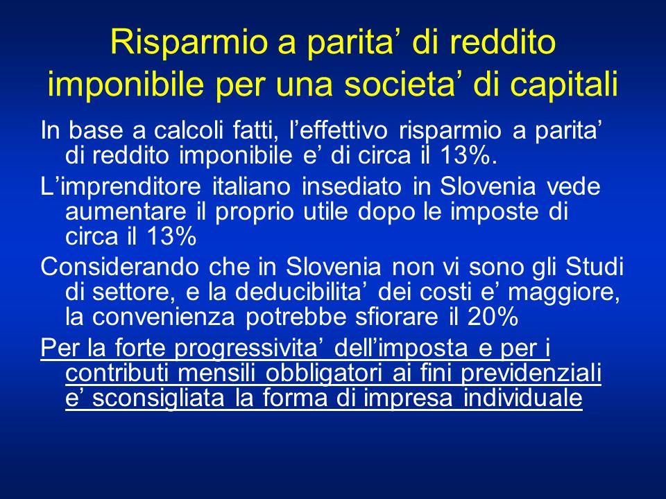 Risparmio a parita' di reddito imponibile per una societa' di capitali