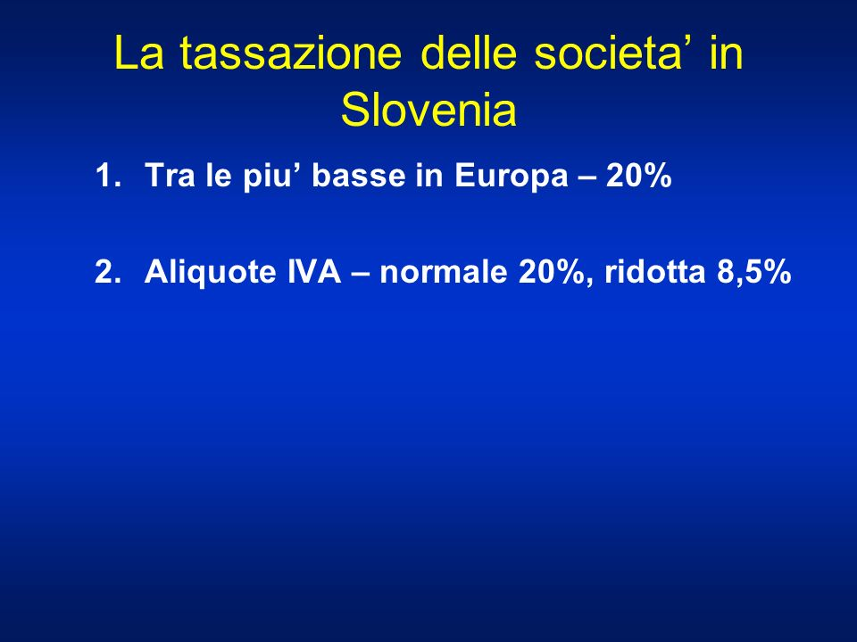 La tassazione delle societa' in Slovenia