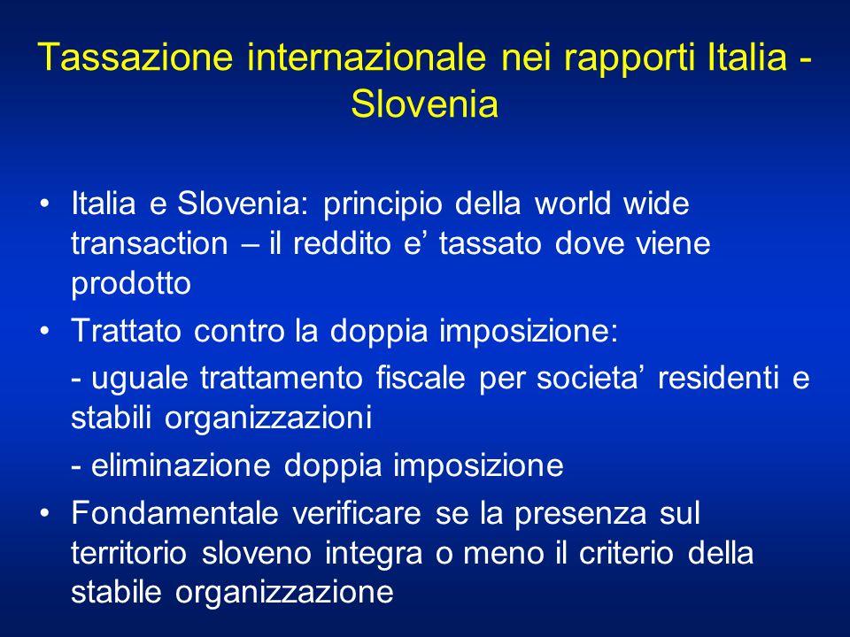 Tassazione internazionale nei rapporti Italia - Slovenia