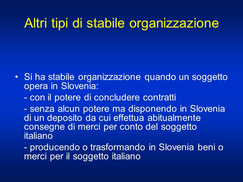 Altri tipi di stabile organizzazione