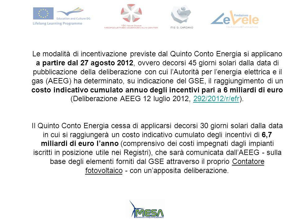 Le modalità di incentivazione previste dal Quinto Conto Energia si applicano a partire dal 27 agosto 2012, ovvero decorsi 45 giorni solari dalla data di pubblicazione della deliberazione con cui l'Autorità per l'energia elettrica e il gas (AEEG) ha determinato, su indicazione del GSE, il raggiungimento di un costo indicativo cumulato annuo degli incentivi pari a 6 miliardi di euro (Deliberazione AEEG 12 luglio 2012, 292/2012/r/efr).