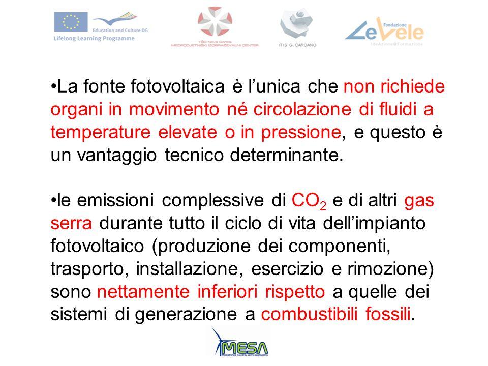 La fonte fotovoltaica è l'unica che non richiede organi in movimento né circolazione di fluidi a temperature elevate o in pressione, e questo è un vantaggio tecnico determinante.