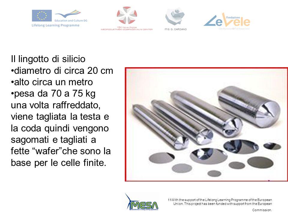 Il lingotto di silicio diametro di circa 20 cm. alto circa un metro. pesa da 70 a 75 kg.