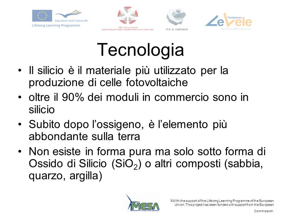 TecnologiaIl silicio è il materiale più utilizzato per la produzione di celle fotovoltaiche. oltre il 90% dei moduli in commercio sono in silicio.