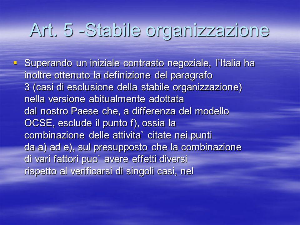 Art. 5 -Stabile organizzazione