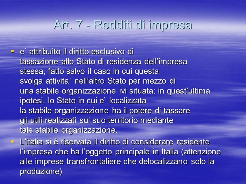 Art. 7 - Redditi di impresa