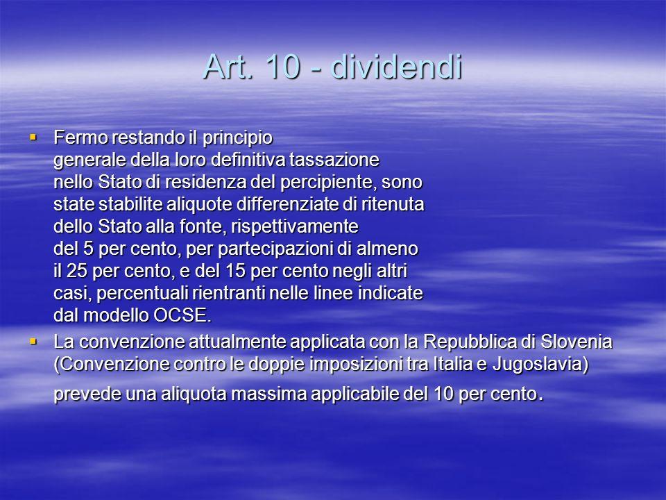 Art. 10 - dividendi