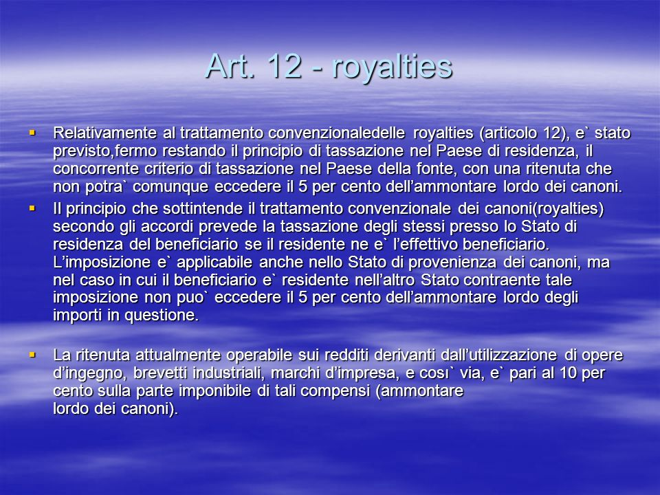Art. 12 - royalties