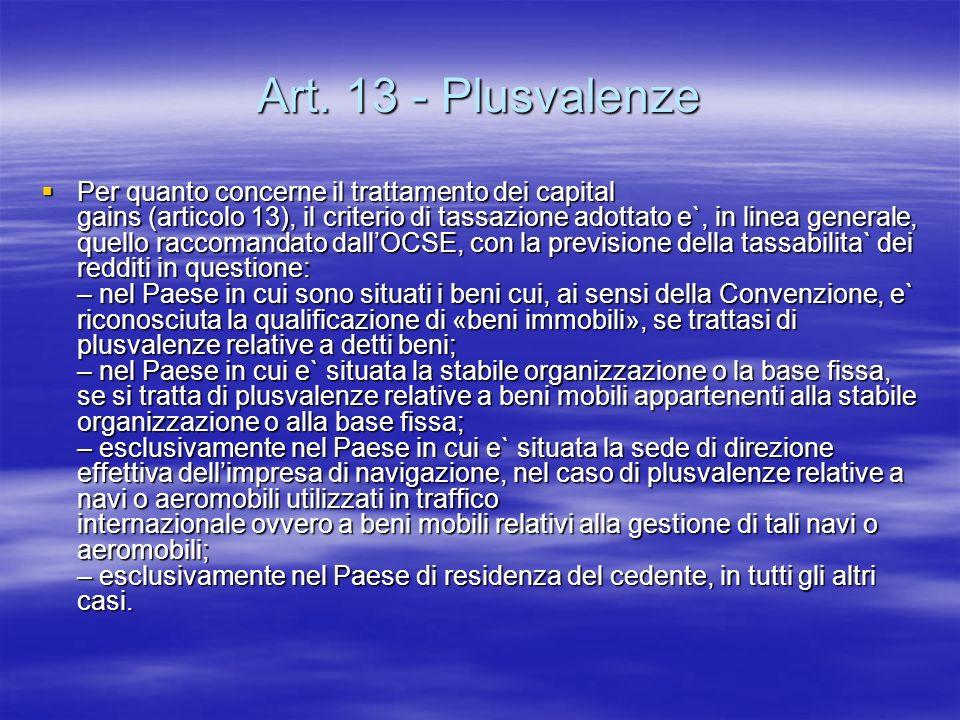 Art. 13 - Plusvalenze