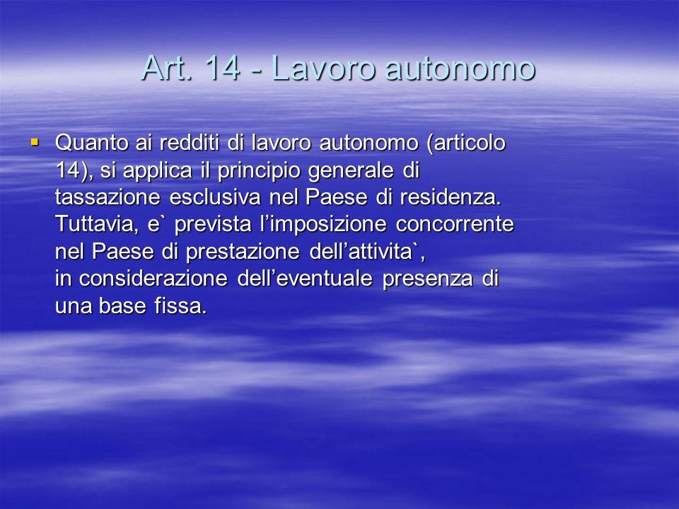 Art. 14 - Lavoro autonomo
