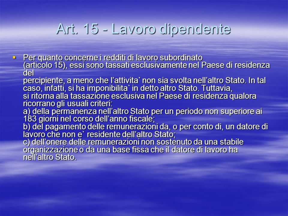 Art. 15 - Lavoro dipendente