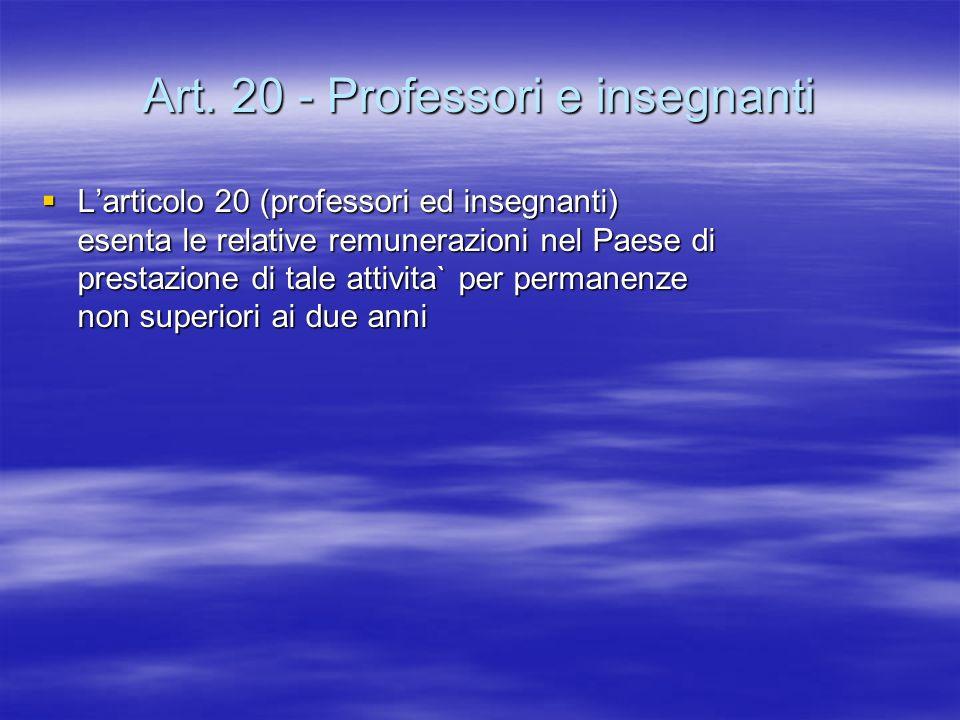 Art. 20 - Professori e insegnanti