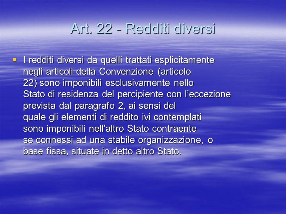 Art. 22 - Redditi diversi