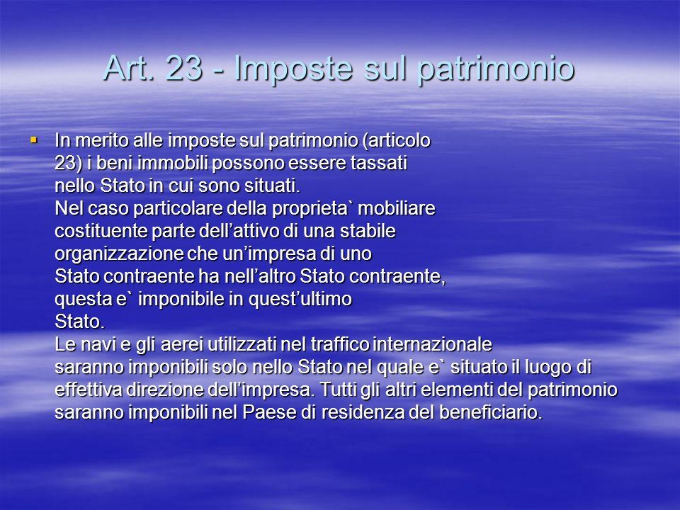 Art. 23 - Imposte sul patrimonio