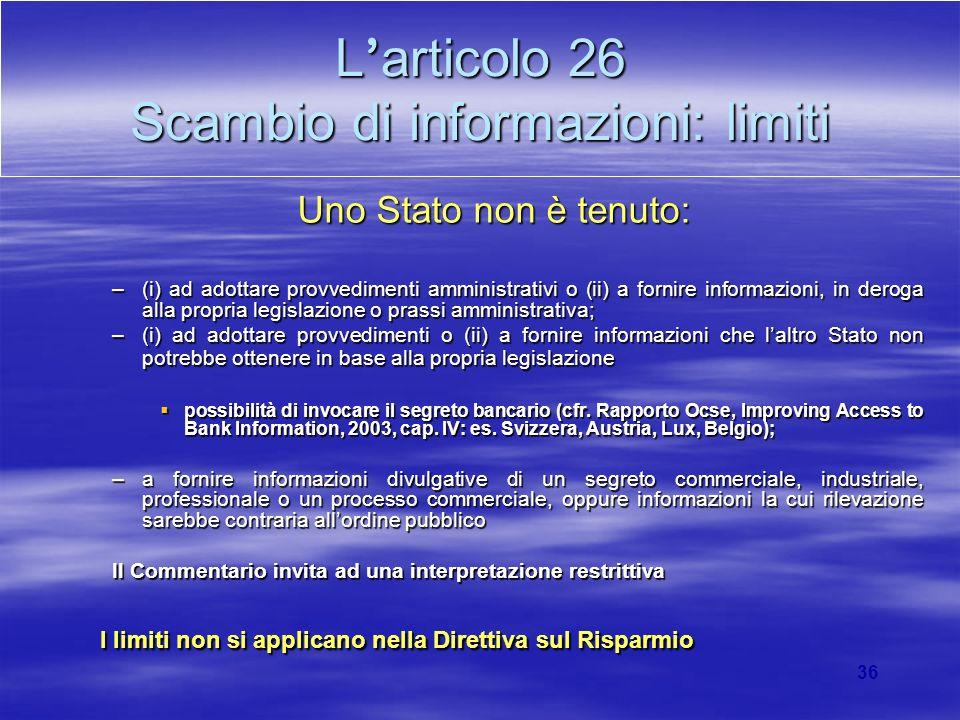 L'articolo 26 Scambio di informazioni: limiti
