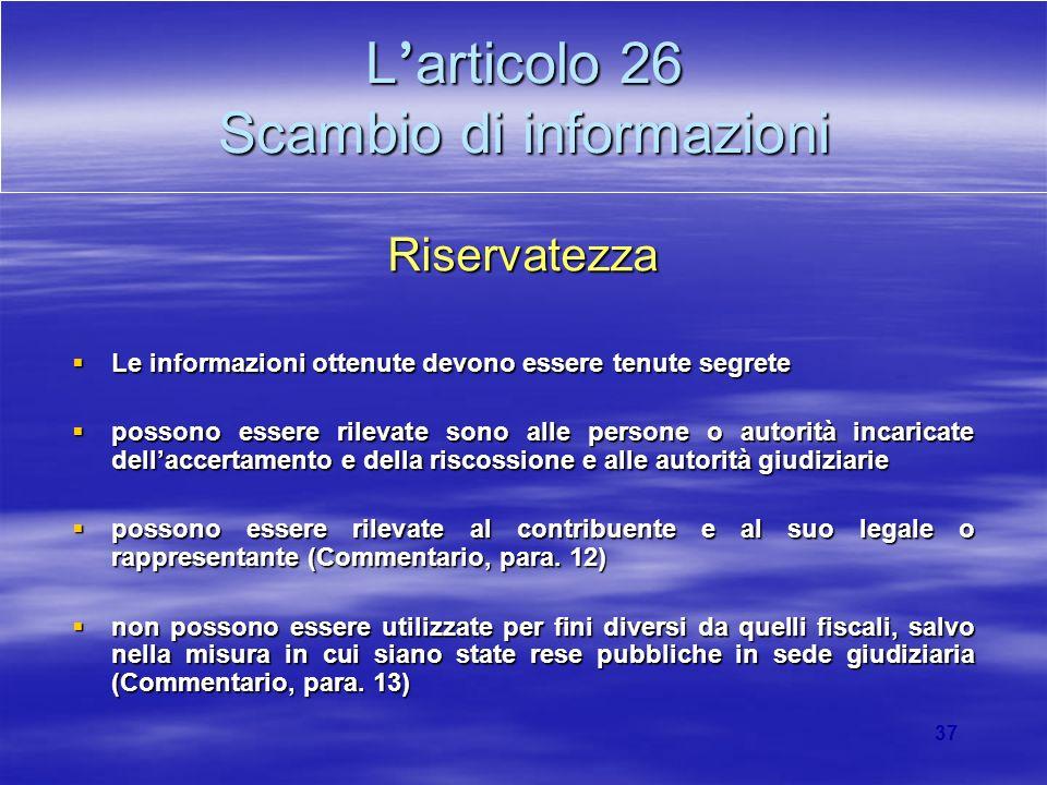 L'articolo 26 Scambio di informazioni