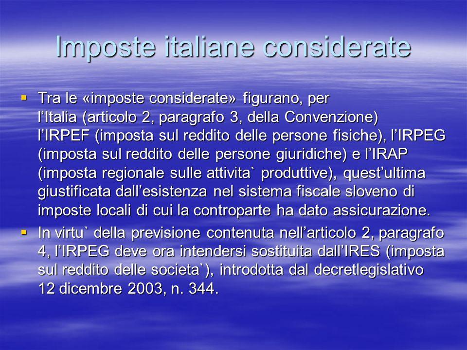 Imposte italiane considerate