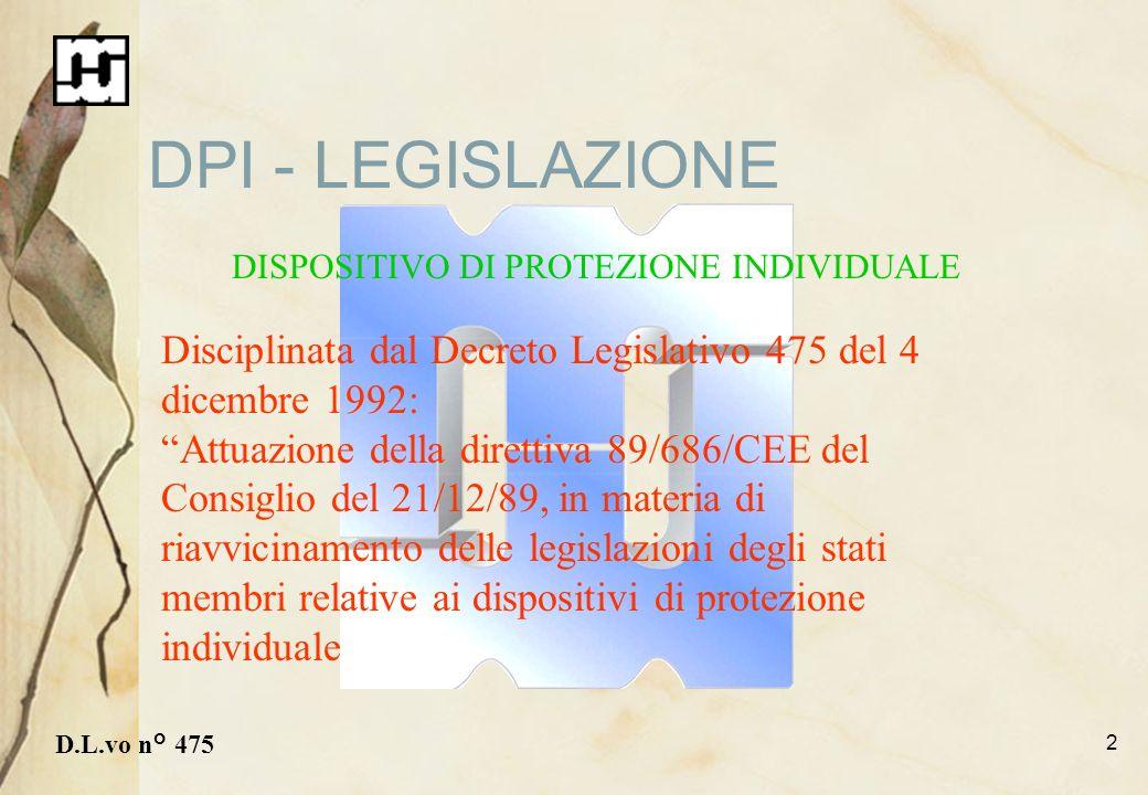 DPI - LEGISLAZIONEDISPOSITIVO DI PROTEZIONE INDIVIDUALE. Disciplinata dal Decreto Legislativo 475 del 4 dicembre 1992: