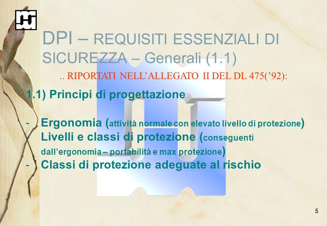 DPI – REQUISITI ESSENZIALI DI SICUREZZA – Generali (1.1)