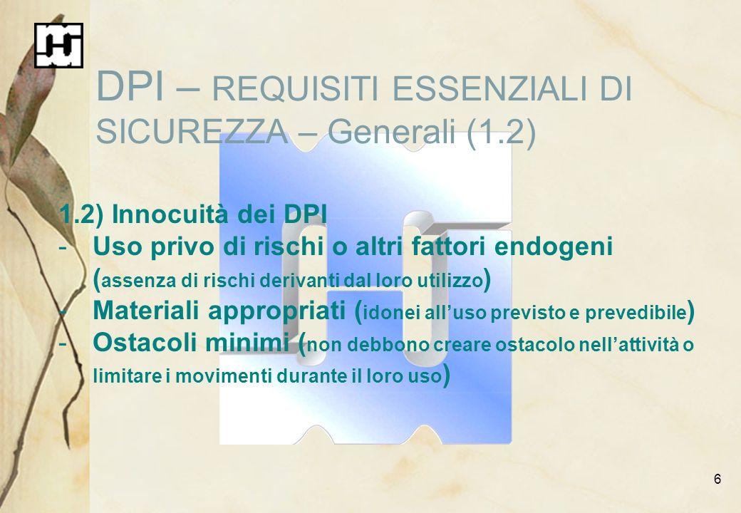 DPI – REQUISITI ESSENZIALI DI SICUREZZA – Generali (1.2)