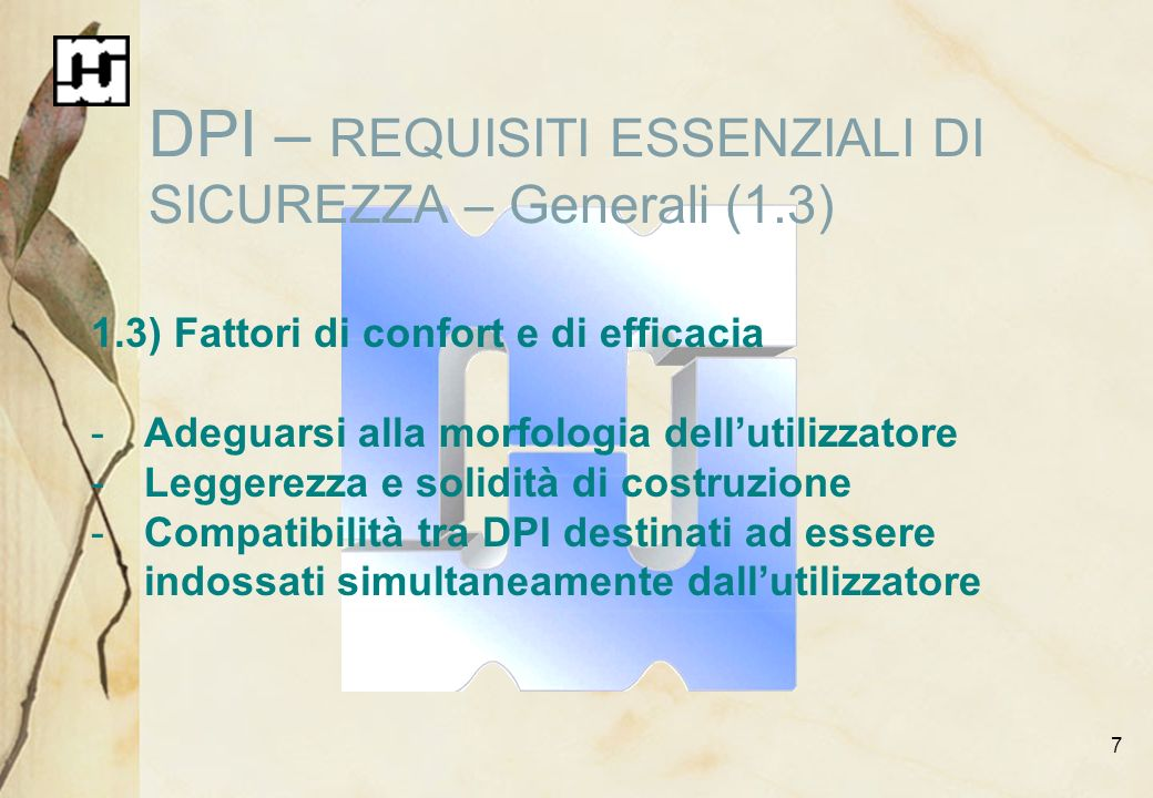 DPI – REQUISITI ESSENZIALI DI SICUREZZA – Generali (1.3)