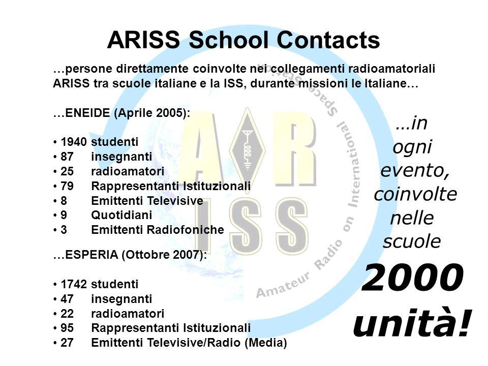 2000 unità! ARISS School Contacts …in ogni evento, coinvolte nelle