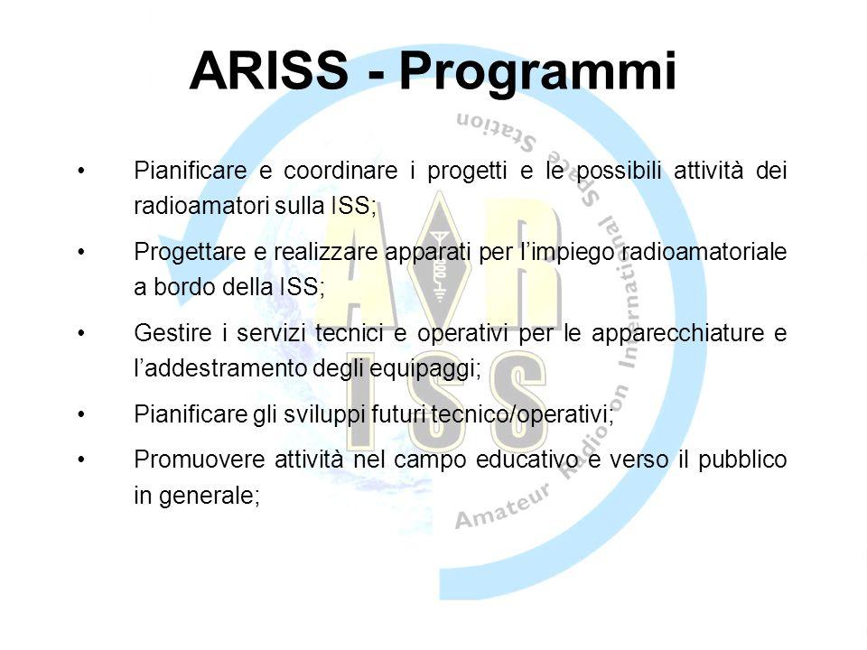 ARISS - Programmi Pianificare e coordinare i progetti e le possibili attività dei radioamatori sulla ISS;