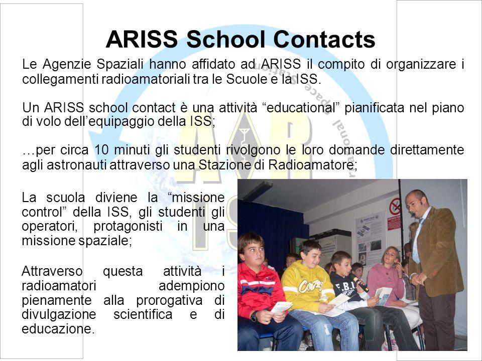 ARISS School Contacts Le Agenzie Spaziali hanno affidato ad ARISS il compito di organizzare i collegamenti radioamatoriali tra le Scuole e la ISS.