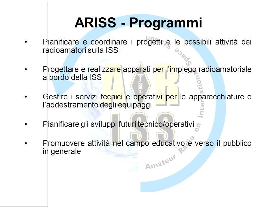 ARISS - Programmi Pianificare e coordinare i progetti e le possibili attività dei radioamatori sulla ISS.