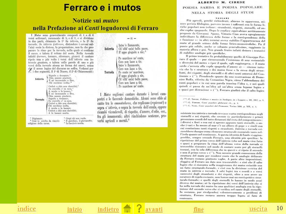 Notizie sui mutos nella Prefazione ai Canti logudoresi di Ferraro