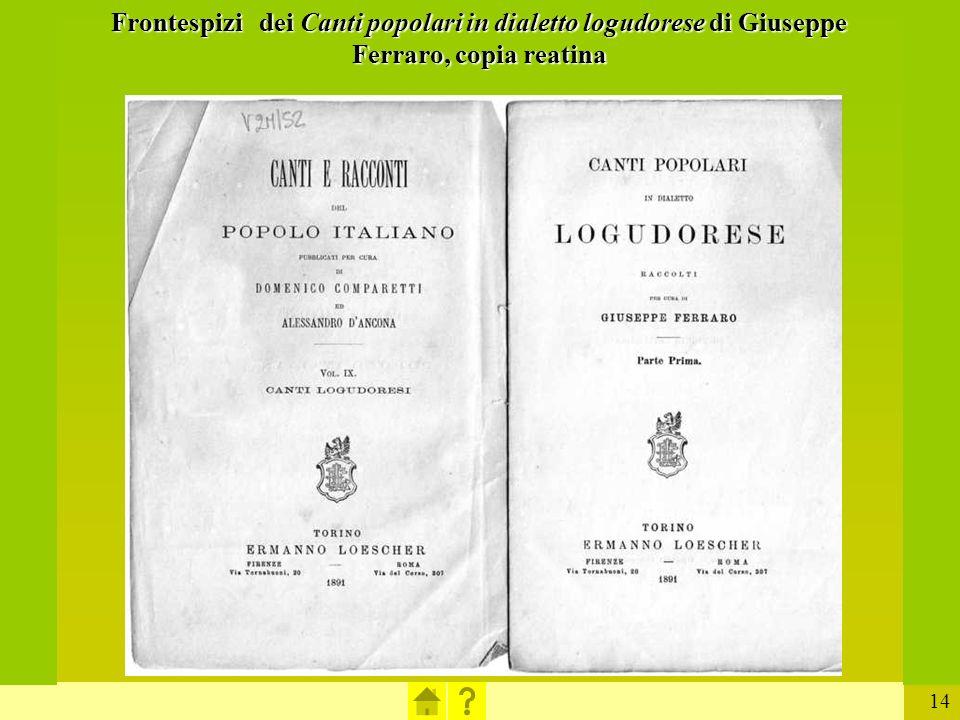 Frontespizi dei Canti popolari in dialetto logudorese di Giuseppe Ferraro, copia reatina
