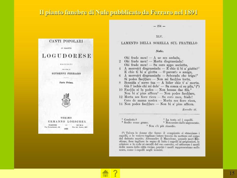 Il pianto funebre di Nule pubblicato da Ferraro nel 1891