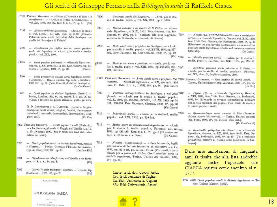 Gli scritti di Giuseppe Ferraro nella Bibliografia sarda di Raffaele Ciasca