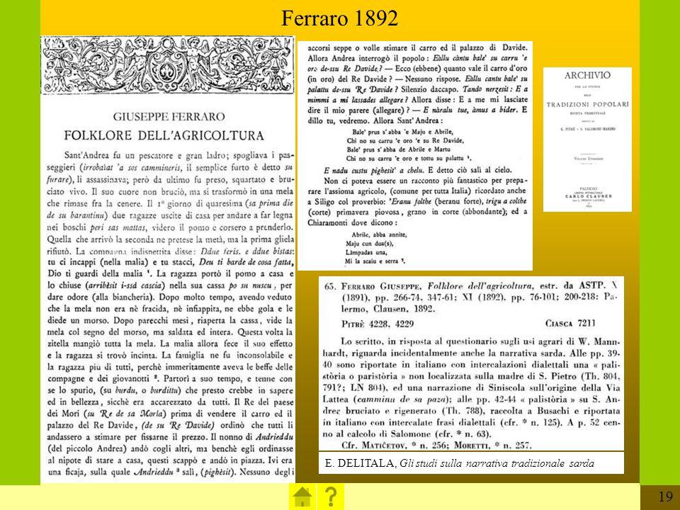 Ferraro 1892 E. DELITALA, Gli studi sulla narrativa tradizionale sarda
