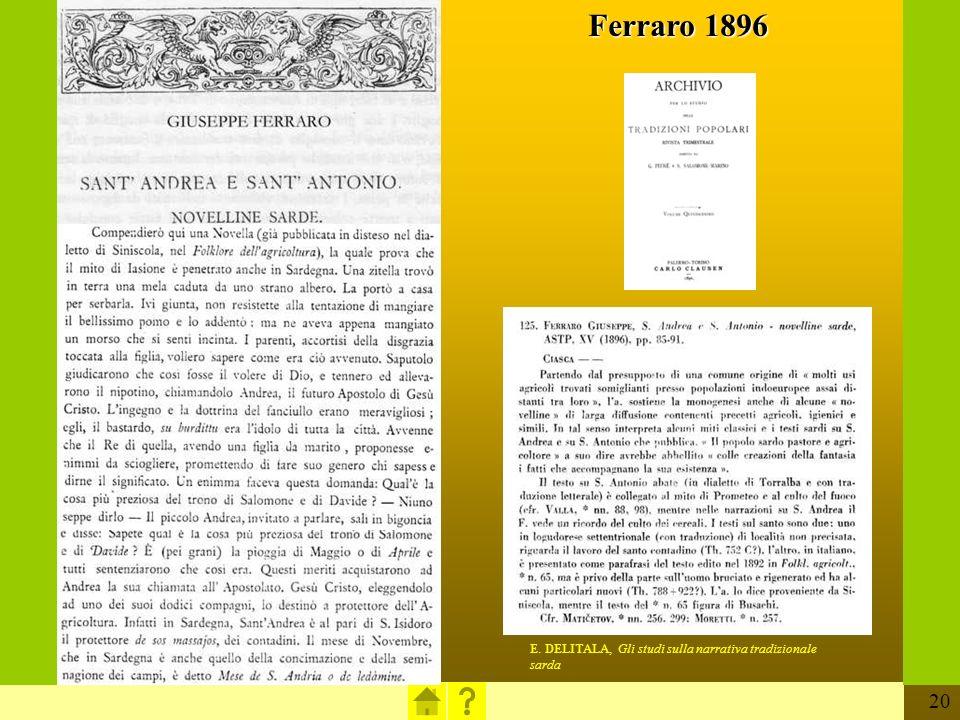 Ferraro 1896 E. DELITALA, Gli studi sulla narrativa tradizionale sarda