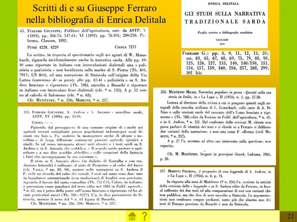 Scritti di e su Giuseppe Ferraro nella bibliografia di Enrica Delitala