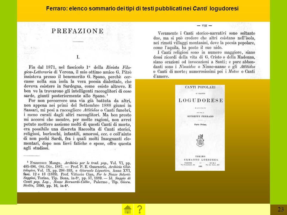 Ferraro: elenco sommario dei tipi di testi pubblicati nei Canti logudoresi