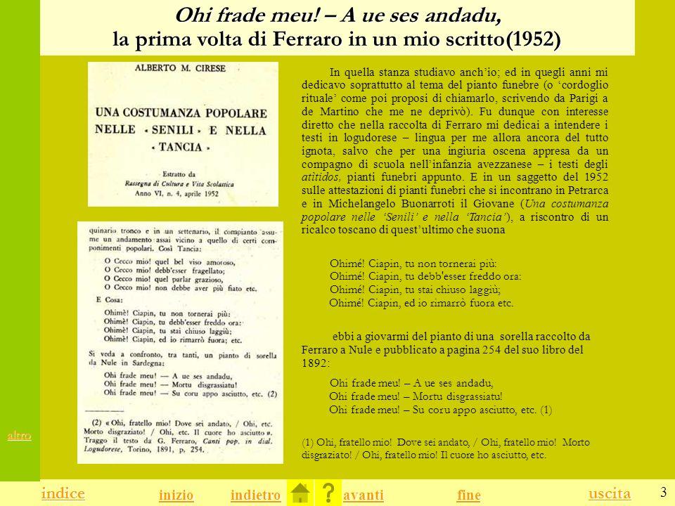 Ohi frade meu! – A ue ses andadu, la prima volta di Ferraro in un mio scritto(1952)