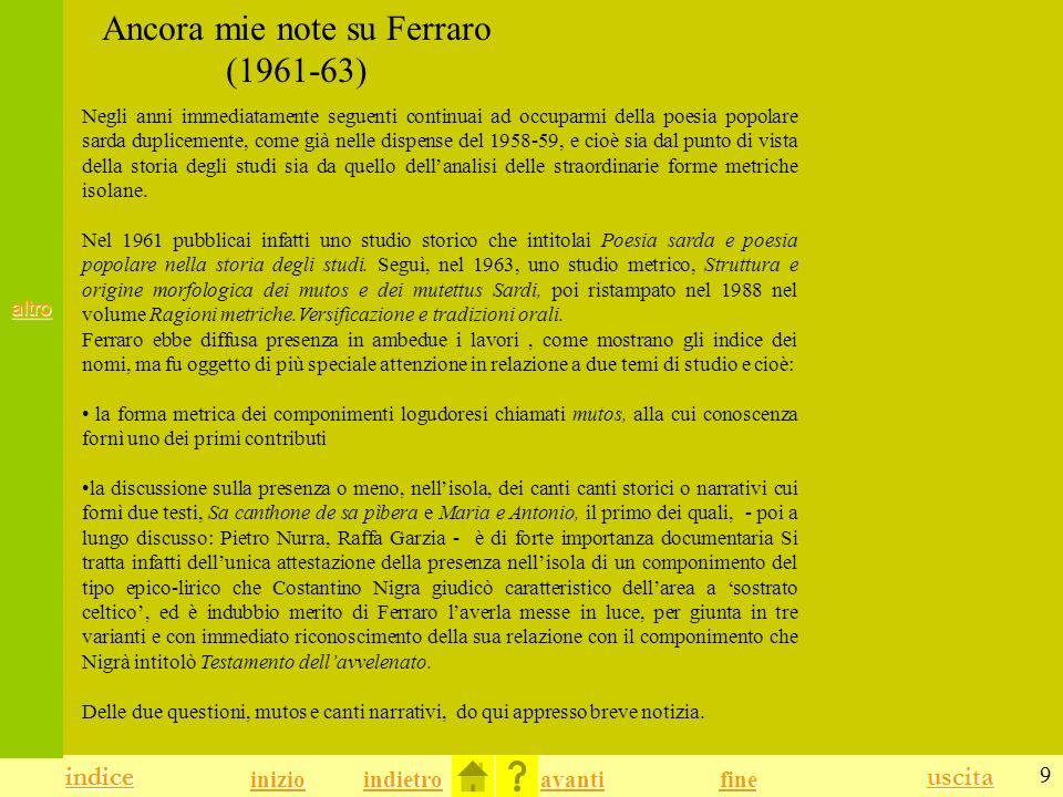 Ancora mie note su Ferraro (1961-63)