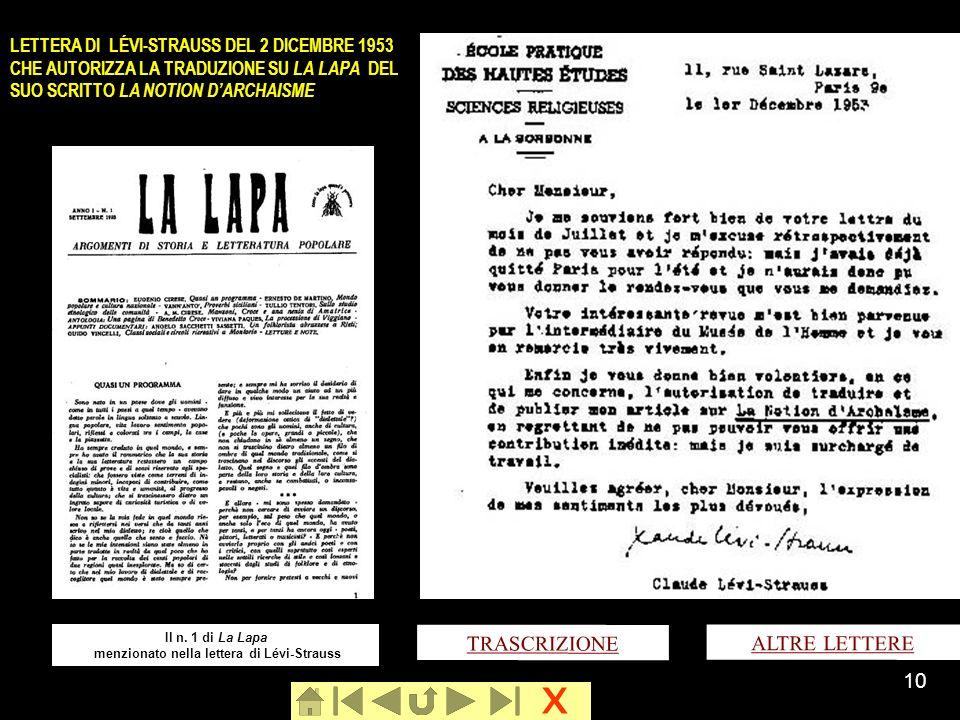 Il n. 1 di La Lapa menzionato nella lettera di Lévi-Strauss