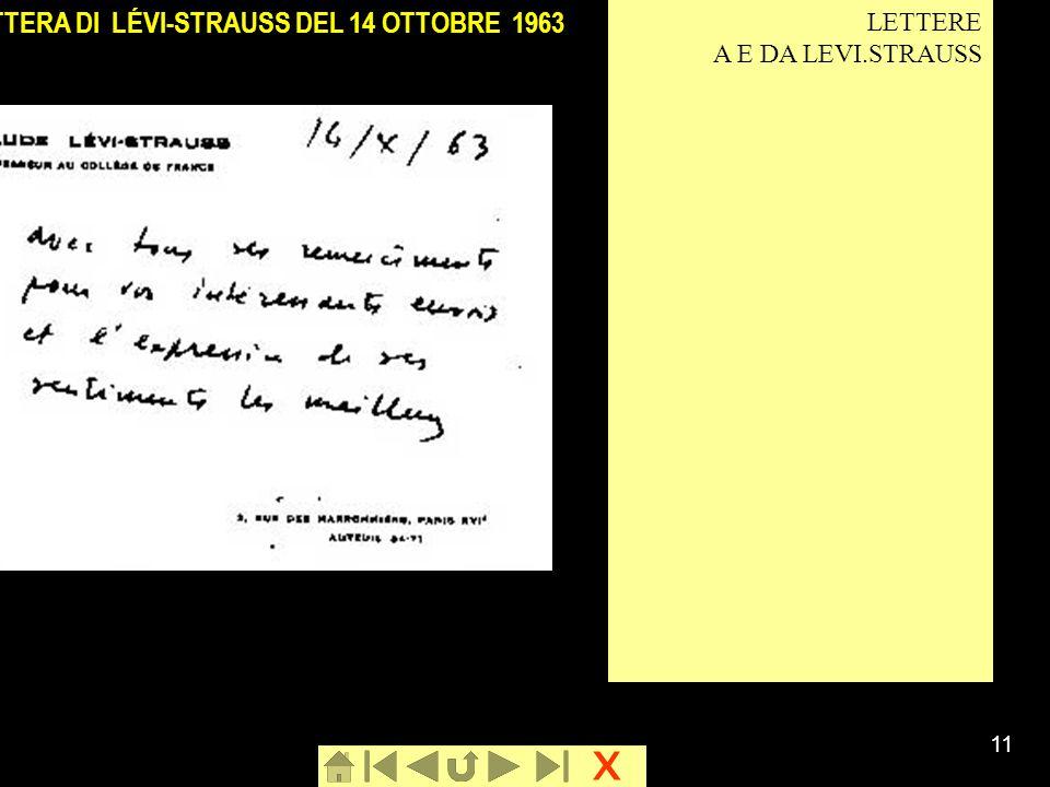 LETTERA DI LÉVI-STRAUSS DEL 14 OTTOBRE 1963
