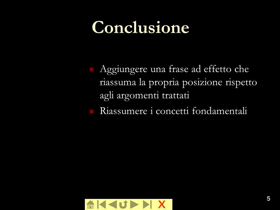 ConclusioneAggiungere una frase ad effetto che riassuma la propria posizione rispetto agli argomenti trattati.