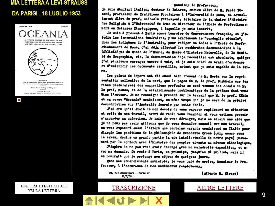 MIA LETTERA A LÉVI-STRAUSS DA PARIGI , 18 LUGLIO 1953