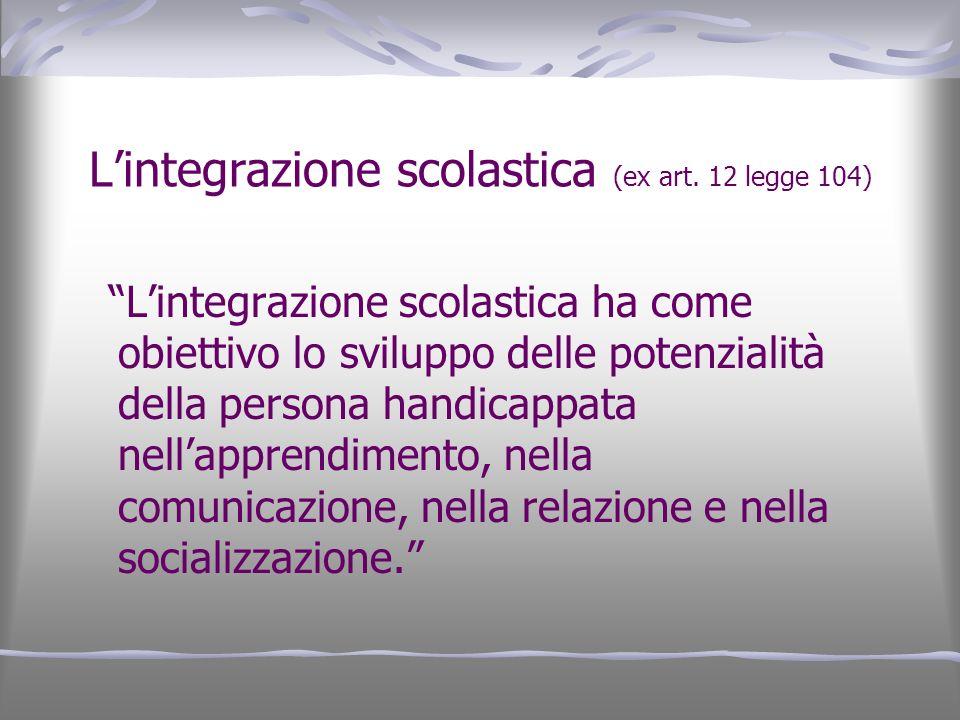 L'integrazione scolastica (ex art. 12 legge 104)