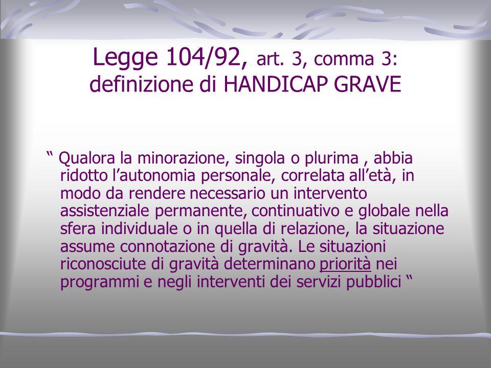 Legge 104/92, art. 3, comma 3: definizione di HANDICAP GRAVE