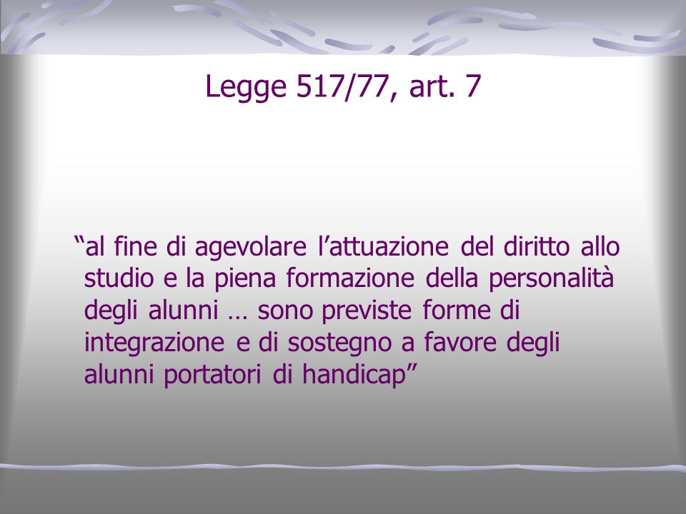 Legge 517/77, art. 7