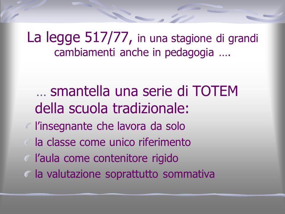 La legge 517/77, in una stagione di grandi cambiamenti anche in pedagogia ….