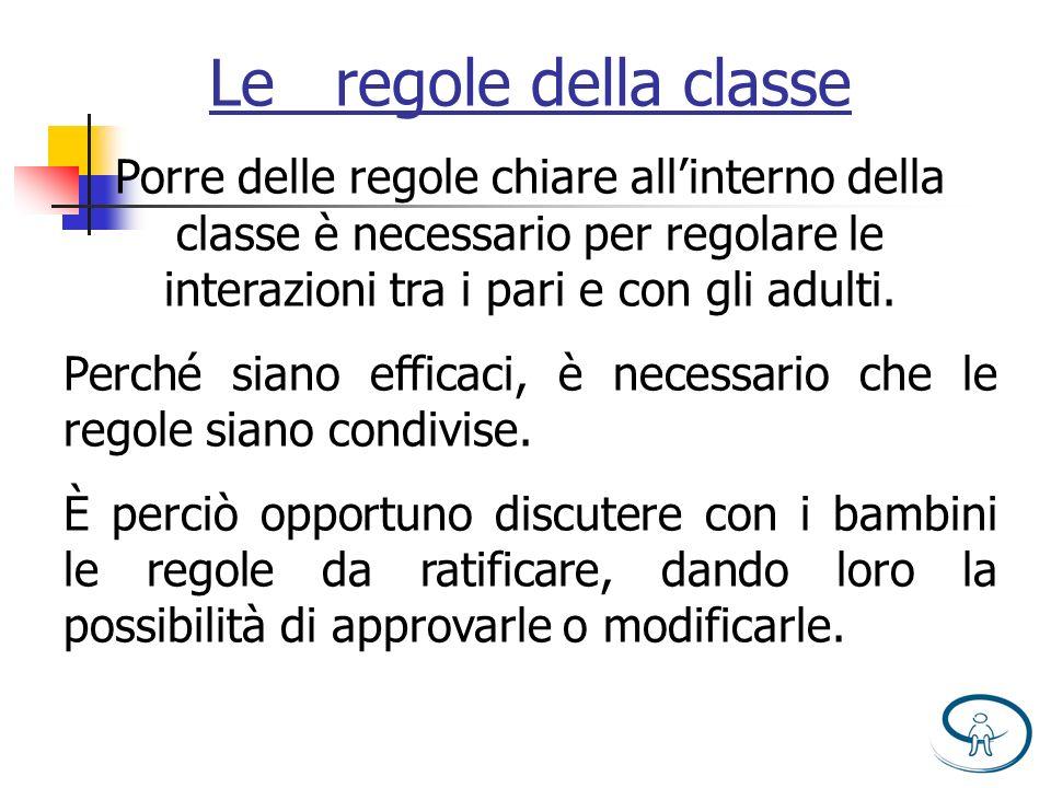 Le regole della classe Porre delle regole chiare all'interno della classe è necessario per regolare le interazioni tra i pari e con gli adulti.